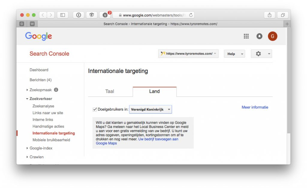 Targeting in Google Search Console